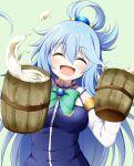 1girl :d ^_^ alcohol aqua_(konosuba) bangs beer beer_mug blue_hair blue_shirt blush bow brooch closed_eyes cup detached_sleeves eyebrows_visible_through_hair facing_viewer green_background green_bow hair_between_eyes hair_ornament hair_rings highres holding holding_cup jewelry kono_subarashii_sekai_ni_shukufuku_wo! kuena long_hair long_sleeves mug open_mouth shirt simple_background sleeveless sleeveless_shirt smile solo very_long_hair white_sleeves