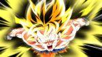1boy afterimage aqua_eyes aura battle_damage blonde_hair dragon_ball dragon_ball_z male_focus open_mouth rom_(20) solo son_goku super_saiyan super_saiyan_1 torn_clothes