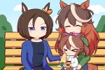 >_< 3girls :3 air_groove_(umamusume) animal_ears bench bendy_straw blue_eyes bow brown_hair casual closed_eyes commentary cup disposable_cup drinking_straw ear_bow ear_piercing earrings gomashio_(goma_feet) high_ponytail holding holding_cup hood hoodie horse_ears horse_girl horse_tail jacket jewelry light_brown_hair long_hair long_sleeves multicolored_hair multiple_girls necklace official_alternate_costume park_bench piercing pink_bow short_hair single_earring sweatdrop symboli_rudolf_(umamusume) tail tokai_teio_(umamusume) two-tone_hair umamusume younger
