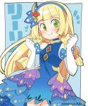 1girl bangs blonde_hair blunt_bangs blush braid dress elbow_gloves eromame gloves green_eyes lillie_(pokemon) long_hair pokemon pokemon_(game) pokemon_masters_ex solo twin_braids