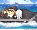 >_< 5girls alternate_costume artist_name battleship blonde_hair dated day gambier_bay_(kancolle) highres himeyamato johnston_(kancolle) kantai_collection long_hair long_sleeves military military_uniform military_vehicle multiple_girls ocean open_mouth ship twintails twitter_username uniform uss_iowa_(bb-61) warship watercraft yamato_(battleship)
