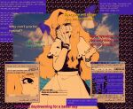 1girl apron black_dress blonde_hair blue_screen_of_death bracelet capelet clouds cloudy_sky collage_background crying crying_with_eyes_open disembodied_limb dress english_text frilled_capelet frills glitch highres holding holding_photo jewelry juliet_sleeves kirisame_marisa linmiee long_hair long_sleeves ocean photo_(object) puffy_sleeves sky tears tissue touhou vaporwave waist_apron window_(computing)
