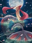 absurdres black_eyes bright_pupils colored_sclera commentary_request gen_3_pokemon highres lake looking_back luna_mokamoka milotic moon night no_humans outdoors petals pokemon pokemon_(creature) red_sclera ripples sky solo water