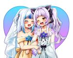 2girls animal_ears arm_hug bangs blue_hair blunt_bangs blush bridal_veil bride cat_ears closed_eyes collarbone commentary dress gawr_gura heart heart_background highres hololive hololive_english jindai3663 looking_at_another multicolored_hair multiple_girls murasaki_shion one_eye_closed purple_hair sharp_teeth smile teeth twintails veil virtual_youtuber wedding_dress white_dress white_hair wife_and_wife yellow_dress yuri