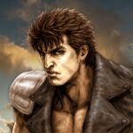 1boy blue_sky brown_eyes brown_hair closed_mouth clouds commentary_request frown hokuto_no_ken jacket kenshiro leather leather_jacket light looking_at_viewer manly muscular muscular_male serious short_hair shoulder_pads sky solo tsunetarou_(yasu) upper_body veins