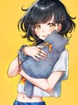 1girl :d absurdres animal bangs black_hair blush cat commentary_request eyebrows_visible_through_hair grey_cat highres holding holding_animal holding_cat looking_at_viewer midriff navel open_mouth original piroshiki123 scrunchie shirt short_hair short_sleeves signature simple_background smile solo swept_bangs upper_body white_shirt wrist_scrunchie wristband yellow_background yellow_eyes