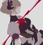 1girl apron black_gloves blood brown_hair closed_eyes closed_mouth flower gloves grey_background highres honkai_(series) honkai_impact_3rd maid maid_apron maid_headdress mole mole_under_eye red_flower red_rose rita_rossweisse rita_rossweisse_(umbral_rose) rose short_hair short_sleeves simple_background sketch solo ylceon