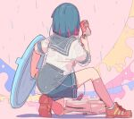 1girl backpack backpack_removed bag blue_hair blue_sailor_collar blue_skirt colored_inner_hair commentary_request facing_away from_behind full_body hand_up holding holding_shield holding_weapon kneeling medium_hair multicolored_hair norikoi original pink_background rain red_footwear redhead sailor_collar school_uniform serafuku shadow shield shirt shoes short_sleeves skirt solo weapon white_shirt