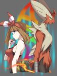 1girl absurdres arm_at_side back-to-back bare_shoulders blaziken blue_eyes breasts brown_hair closed_mouth cropped_torso fanny_pack fingernails fire from_side gen_3_pokemon hairband hand_up highres holding holding_poke_ball long_hair may_(pokemon) medium_breasts mega_blaziken mega_evolution_symbol mega_pokemon poke_ball poke_ball_(basic) pokemon pokemon_(creature) pokemon_(game) pokemon_oras pretty-purin720 red_hairband red_shirt shirt tank_top