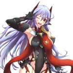 1girl absurdres android blush_stickers breasts highres joints large_breasts leotard long_hair mechanical_parts nintendo nithros one_eye_closed open_mouth poppi_(xenoblade) poppi_qtpi_(xenoblade) purple_hair robot_ears robot_joints scarf solo xenoblade_chronicles_(series) xenoblade_chronicles_2