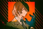 1boy adjusting_clothes adjusting_gloves akechi_gorou black_background black_gloves black_neckwear brown_hair brown_jacket commentary dated gloves hand_up haun jacket long_sleeves looking_at_viewer male_focus necktie persona persona_5 red_background red_eyes shirt short_hair simple_background smile smirk solo striped striped_background striped_neckwear upper_body white_neckwear white_shirt