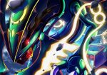 black_sclera blurry bright_pupils claws colored_sclera commentary_request fangs gen_3_pokemon glowing glowing_eyes legendary_pokemon looking_to_the_side mega_pokemon mega_rayquaza no_humans open_mouth pokemon pokemon_(creature) rayquaza red_eyes ririri_(user_rkrv7838) rock solo white_pupils