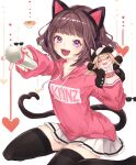 1girl :3 :d absurdres animal_ears bangs brown_hair cat_tail character_doll character_request copyright_name fake_animal_ears fang hand_puppet headphones heart highres hood hoodie kmnz mc_lita mc_liz medium_hair microphone nail_polish open_mouth paru_(parucom) pink_hoodie pink_nails puppet simple_background skirt smile tail thigh-highs violet_eyes virtual_youtuber white_background white_skirt