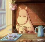 1girl animated animated_gif artist_name closed_eyes coffee coffee_mug cup english_commentary flower holding holding_spoon looping_animation moomin moominmamma mug nyyra pink_flower solo spoon steam table