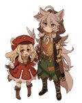 1boy 1girl ahoge animal_ears bangs blonde_hair blush boots brown_footwear brown_gloves closed_mouth clover dress feathers four-leaf_clover genshin_impact gloves green_pants grey_hair hair_between_eyes hat hat_feather holding_hands hood hood_up iwashi_(iwashi008) klee_(genshin_impact) long_hair long_sleeves low_twintails open_mouth orange_gloves pants razor_(genshin_impact) red_dress red_eyes red_headwear scar scar_on_face short_sleeves simple_background tail twintails upper_teeth violet_eyes white_background