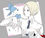 1boy animal_on_shoulder awara_kayu bangs bird bird_on_shoulder birdcage blonde_hair blue_bird cage character_name collared_shirt commentary_request dated flower grey_background grey_eyes happy_birthday heart holding long_sleeves male_focus nakarai_keijin necktie pale_skin parted_bangs polka_dot_neckwear shirt short_hair simple_background solo tokyo_ghoul tokyo_ghoul:re upper_body white_background