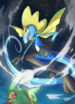 absurdres bright_pupils clouds commentary_request gen_3_pokemon gen_8_pokemon glowing highres inteleon kecleon night nullma open_mouth outdoors pokemon pokemon_(creature) shiny sky smile star_(sky) toes tongue white_pupils yellow_eyes