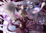 2girls angel_wings angry blood blue_hair blurry blurry_background bobby_socks book breasts clenched_hands collared_dress cracked_floor doremy_sweet dream_soul dream_world_(touhou) dress feathered_wings feathers hat hat_removed headwear_removed highres injury jacket jacket_removed kishin_sagume long_hair long_sleeves looking_at_viewer medium_breasts moon multiple_girls open_mouth otomeza_ryuseigun pom_pom_(clothes) purple_dress red_eyes short_hair short_sleeves single_wing socks tail tapir_tail tongue_tattoo torn_clothes torn_sleeves touhou upper_teeth v-shaped_eyebrows white_hair wings