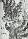 artist_logo beak bird_footprints drawing falco_grice feathers glowing glowing_eyes handy-y-mage highres jaw_titan looking_up monochrome movement saliva screaming shading sharp_teeth shingeki_no_kyojin short_hair sketch teeth tongue tongue_out