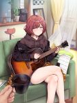 1boy 1girl acoustic_guitar amekasaikuta black_jacket blue_shorts blush cellphone coffee coffee_maker_(object) couch crossed_legs cup curtains feet_out_of_frame guitar highres higuchi_madoka holding holding_cup hood hoodie idolmaster idolmaster_shiny_colors indoors instrument jacket jacket_partially_removed looking_at_viewer mirror mole mole_under_eye music nail_polish on_couch phone playing_instrument pov pov_hands redhead refrigerator sheet_music short_hair shorts sweatdrop thighs