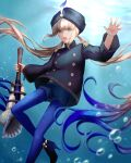 1boy absurdres air_bubble bangs black_headwear black_jacket blue_hair blue_pants blush bubble captain_nemo_(fate) conch fate/grand_order fate_(series) gradient_hair green_eyes hat_feather high_heels highres horn_(instrument) jacket kankitsurui_(house_of_citrus) light_brown_hair long_hair long_sleeves looking_at_viewer multicolored_hair open_mouth pants solo thighs tight tight_pants turban two-tone_hair underwater
