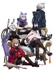 animal_ear_fluff animal_ears arknights black_capelet black_jacket black_nails capelet cigarette fur-trimmed_hood fur_trim grey_eyes hair_ornament hairclip highres holding holding_cigarette hood jacket kuroda_(nanchara_flight) lappland_(arknights) large_tail mask mask_around_neck pantyhose penguin_logistics_logo projekt_red_(arknights) provence_(arknights) red_jacket scar scar_across_eye shoulder_strap strapless tail texas_(arknights) tubetop wolf_ears wolf_girl wolf_tail