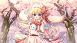 >_< 1girl absurdres animal artist_name blonde_hair blue_eyes blurry blurry_background blush bow bowtie cherry_blossoms commentary commentary_request day depth_of_field dot_nose eyebrows_visible_through_hair hair_between_eyes hat hat_bow heart highres lily_white long_hair long_sleeves looking_at_viewer open_mouth outdoors petals pudding_(skymint_028) red_bow red_neckwear signature smile solo spring_(season) touhou tree white_headwear