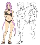 1girl ashiomi_masato breasts closed_mouth fate/grand_order fate/stay_night fate_(series) groin long_hair looking_at_viewer medusa_(fate) medusa_(rider)_(fate) navel purple_hair sandals simple_background solo swimsuit toes very_long_hair violet_eyes white_background