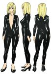 1girl alternate_costume ashiomi_masato biker_clothes bikesuit black_bodysuit blonde_hair bodysuit breasts closed_mouth guilty_gear guilty_gear_xrd high_heels looking_at_viewer medium_hair millia_rage simple_background solo unzipped white_background