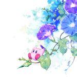blue_eyes blue_flower dot_mouth flower kirby kirby_(series) kotori_(lycka) leaf morning_glory purple_flower white_background