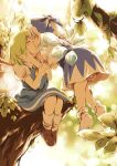2girls acane_(cadd9_acane) ascot black_dress black_footwear bloomers bow cirno closed_eyes collared_dress commentary_request daiyousei dress green_hair hair_bow highres in_tree kiss leaf multiple_girls outdoors puffy_short_sleeves puffy_sleeves shoes short_sleeves sitting sitting_in_tree socks sparkle_background touhou tree underwear white_hair wing_collar wings yellow_neckwear yuri