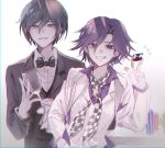 2boys bangs black_bow black_hair black_jacket blush bow bowtie brown_hair checkered checkered_neckwear commentary_request cup dangan_ronpa_(series) dangan_ronpa_10th_anniversary_costume dangan_ronpa_v3:_killing_harmony grey_background grin half-closed_eyes hand_in_pocket hand_up highres jacket jey_(j3y) male_focus multiple_boys ouma_kokichi parted_lips poker_chip purple_hair purple_shirt saihara_shuuichi shirt short_hair simple_background smile teeth upper_body vest violet_eyes white_jacket white_vest yellow_eyes