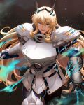 1girl absurdres armor bangs blonde_hair breastplate breasts chain fairy_knight_gawain_(fate) fate/grand_order fate_(series) faulds gauntlets greaves green_eyes highres horns kankitsurui_(house_of_citrus) large_breasts long_hair looking_at_viewer open_mouth pauldrons shoulder_armor solo sword thighs weapon
