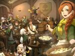 4girls 6+boys 90n_pacos annette_(pixiv_fantasia_last_saga) artist_name barrel beer_mug black_gloves bottle bow bowl bread brown_cape brown_footwear brown_gloves brown_hair cape character_request clenched_hand cloak comet_lulu commentary cup dancing darren_(pixiv_fantasia_last_saga) door drinking eating elliot_(pixiv_fantasia_last_saga) food gloves green_bow green_headwear hair_bow hat headband highres hood hood_down indoors instrument lantern long_hair mouse mug multiple_boys multiple_girls music pink_headwear pitcher pixiv_fantasia pixiv_fantasia_last_saga playing_instrument red_headwear scarf shinonome_shiden short_hair sitting spoon stew table theo_(pixiv_fantasia_last_saga) tunic white_hair wine_bottle yellow_scarf