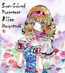 1girl alice_margatroid bangs belt blonde_hair blue_dress blue_eyes blue_flower blush breasts cape character_name closed_mouth dress english_text eyebrows_visible_through_hair flower green_eyes green_flower hairband hands_up highres kabaji looking_at_viewer medium_breasts multicolored multicolored_eyes pink_belt pink_flower pink_neckwear purple_background purple_flower red_flower red_hairband shikishi short_hair short_sleeves smile solo touhou traditional_media white_background white_cape white_sleeves wrist_cuffs