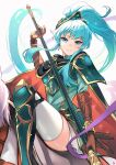 1girl alternate_costume alternate_hairstyle animal aqua_eyes aqua_hair armor armored_boots bangs blush boots brown_gloves cape commentary_request cosplay earrings eirika_(fire_emblem) ephraim_(fire_emblem) ephraim_(fire_emblem)_(cosplay) eyebrows_visible_through_hair fire_emblem fire_emblem:_the_sacred_stones fire_emblem_heroes gauntlets gloves hair_between_eyes hair_ornament high_ponytail highres holding holding_polearm holding_spear holding_weapon horse horseback_riding jewelry lips long_hair looking_at_viewer miniskirt nakabayashi_zun official_alternate_costume parted_lips polearm ponytail riding shoulder_armor sidelocks skirt smile spear teeth thigh-highs thighs weapon white_background white_legwear white_skirt