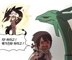 1boy 1girl alternate_color bangs brown_hair cloak closed_eyes closed_mouth commentary_request fang gen_3_pokemon gloves grey_hair hand_up hands_up korean_commentary korean_text legendary_pokemon long_sleeves mega_pokemon mega_rayquaza motion_lines official_alternate_costume open_mouth pants pokemon pokemon_(game) pokemon_masters_ex pokemon_oras rayquaza shiny_pokemon short_hair smile sparkle speech_bubble spiky_hair ssalbulre standing steven_stone tailcoat tearing_up tongue translation_request zinnia_(pokemon)