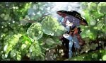 1girl boots bowl bowl_hat closed_eyes crossed_legs droplet grin hand_on_own_chin hat japanese_clothes kimono leaf long_sleeves minigirl outdoors pink_hair short_hair smile solo sukuna_shinmyoumaru touhou waist_bow yt_(wai-tei)