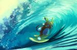 alolan_form alolan_raichu blue_eyes commentary_request day fusenryo gen_7_pokemon highres looking_at_viewer no_humans outdoors parted_lips pokemon pokemon_(creature) solo standing surfing toes water waves