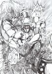 1boy afterimage apocalypse arm_guards armor boots city cityscape closed_mouth commentary_request crack desert energy facing_viewer greyscale highres hitting hokuto_no_ken injury long_hair looking_at_viewer male_focus monochrome multiple_views muscular muscular_male parted_lips pauldrons rei_(hokuto_no_ken) ruins serious shoulder_armor solo user_majy8437