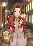 1girl aerith_gainsborough basket bell_(szkdddd) blue_eyes blush bow brown_hair building city cropped_jacket dress final_fantasy fingernails flower hair_bow hair_intakes hair_over_shoulder hand_up highres holding holding_basket holding_flower jacket lanyard lily_(flower) lips long_hair looking_at_viewer night open_clothes open_jacket outdoors parted_hair parted_lips pink_nails red_jacket road sett short_sleeves smile solo standing street white_dress wristband