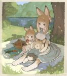 1boy 2girls :t absurdres animal_ears animal_hands apple apron basket blush brown_hair carrot closed_eyes dress eating english_text family food fruit highres mother_and_daughter mother_and_son multiple_girls original outdoors picnic rabbit_boy rabbit_ears rabbit_girl rabbit_tail sakutake_(ue3sayu) shade tail tree