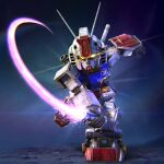 3d beam_saber chibi gundam highres holding holding_sword holding_weapon kimkim mecha mobile_suit mobile_suit_gundam no_humans open_hand rx-78-2 shield slashing solo sword v-fin weapon yellow_eyes