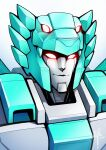 1girl 2021 dazzle_(dazzledictator) decepticon english_commentary extra_eyes glowing glowing_eyes highres lyzack mecha no_humans portrait red_eyes science_fiction signature solo transformers transformers_victory