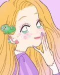 1girl absurdly_long_hair animal_hair_ornament blonde_hair disney dress earrings eyeshadow face facepaint flower flower_earrings green_eyes hand_on_own_face highres icon jewelry lavender_background long_hair makeup multiple_earrings multiple_piercings nail_art pink_lips princess puffy_sleeves purple_dress purple_nails rapunzel_(disney) rikuwo solo tangled very_long_hair