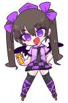 1girl black_wings brown_hair camera cellphone checkered checkered_skirt geta hair_ribbon hat highres himekaidou_hatate long_hair necktie op_na_yarou open_mouth phone pointy_ears pom_pom_(clothes) purple_ribbon purple_shirt ribbon shirt simple_background skirt smile solo tengu-geta tokin_hat touhou twintails white_background wings