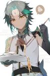 1boy ahoge almond_tofu_(genshin_impact) arm_guards arm_tattoo asymmetrical_clothes azna bead_necklace beads black_hair detached_sleeves diamond-shaped_pupils diamond_(shape) eyeshadow facial_mark food forehead_mark frown genshin_impact gloves green_gloves green_hair highres holding holding_plate jewelry makeup multicolored_hair necklace plate red_eyeshadow serving short_hair short_hair_with_long_locks shoulder_pads sidelocks signature single_bare_shoulder single_detached_sleeve solo speech_bubble spilling sweatdrop symbol-shaped_pupils tattoo tofu twitter_username two-tone_hair xiao_(genshin_impact) yellow_eyes