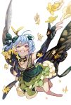 1girl ahoge antennae bangs barefoot black_gloves blue_hair blush bow breasts butterfly_wings choker dress elbow_gloves eternity_larva flower frilled_dress frills gloves green_bow grin hair_between_eyes hair_bow looking_to_the_side one_eye_closed red_eyes short_hair simple_background small_breasts smile solo syuri22 teeth touhou white_background wings