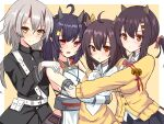 4girls abc_(type5_labyrith) abukuma_(azur_lane) ahoge azur_lane bangs bare_shoulders bell belt black_hair black_jacket blush bow bowtie breasts brown_eyes brown_shorts cardigan choker closed_mouth collared_shirt commentary_request cowboy_shot detached_sleeves eyebrows_visible_through_hair facial_mark fang gloves hair_between_eyes hair_bow hair_ornament hair_ribbon hairclip hand_up hands_on_another's_shoulders highres horns hug isuzu_(azur_lane) jacket jingle_bell kinu_(azur_lane) large_breasts long_hair long_sleeves looking_at_viewer low_ponytail medium_breasts medium_hair military military_uniform multiple_girls nagara_(azur_lane) off_shoulder oni_horns open_mouth oversized_clothes parted_lips pink_neckwear pink_ribbon pleated_skirt pointy_ears red_eyes ribbon shirt short_hair shorts side_ponytail sidelocks silver_hair skin_fang skirt sleeveless sleeveless_shirt sleeves_past_wrists smile standing twintails underbust uniform white_background white_belt white_choker white_gloves white_shirt white_sleeves yellow_background yellow_bow yellow_cardigan yellow_eyes