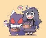 1girl :d @_@ ahoge blue_eyes bottle chibi dress gen_1_pokemon gengar hex_maniac_(pokemon) highres jar long_dress long_sleeves milk_bottle moomoo_milk open_mouth pokemon pokemon_(creature) pokemon_(game) pokemon_xy purple_dress purple_footwear purple_hair rariatto_(ganguri) shoes simple_background smile sparkle yellow_background